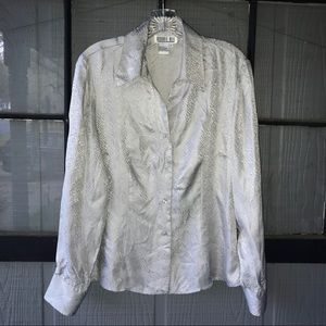 Robbie Bee blouse, snakeskin texture, 100% silk